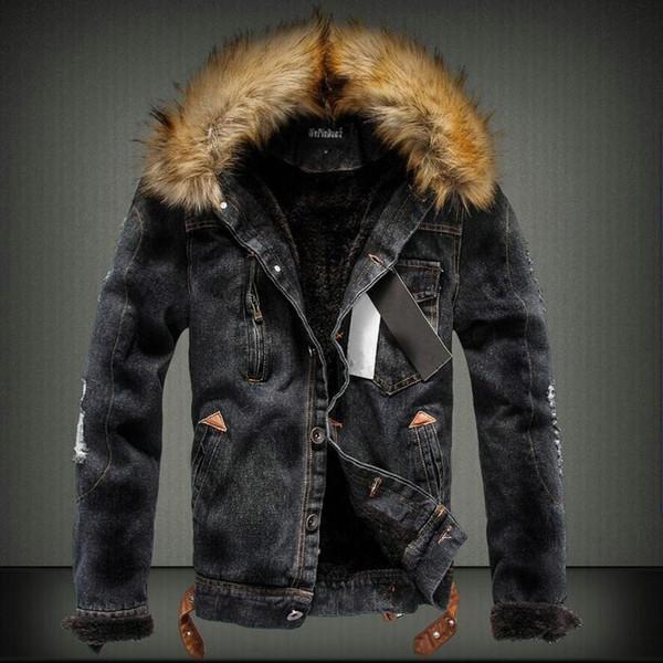2018 Fashion Streetwear Winterjacke Für Männer Schwarz Blau Punk Style Samt Parka Denim Warme Jacke Männer Pelzkragen Mit Kapuze Mäntel