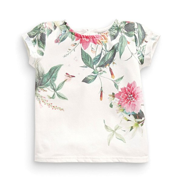 Little Maven New Summer Kids Clothing Short O -Neck Chinese Floral Painting Printed Tee Knitted Cotton Girls Casual Tshirt
