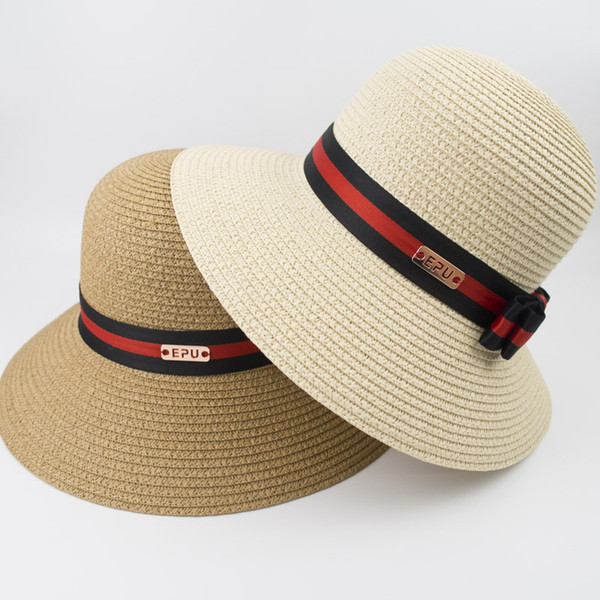 PP Braid Paper Straw Vintage Style Ladies Women Summer Bucket Hat for Garden Outdoor Sunny Beach Vacation Holiday womens Hat EPU-MH1841
