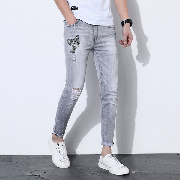 Embroidery Jeans Men Hole Ripped Denim Pencil Pants Slim Fit Casual Hip Hop Streetwear Jeans for Men Grey Trousers S134