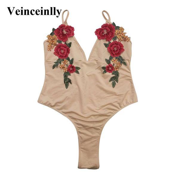 Thong Bather Mesh Sheer Perspective one piece swimwear women high cut swimsuit female Embroidery bathing suit swim wear Y813