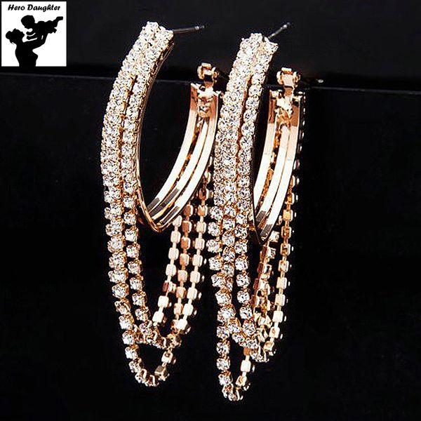 Hero Daughter Trendy Big Hoop Earrings Black Tassel Large Rhinestone Earrings for Women Fashion Jewelry Basketball Luxury 2017
