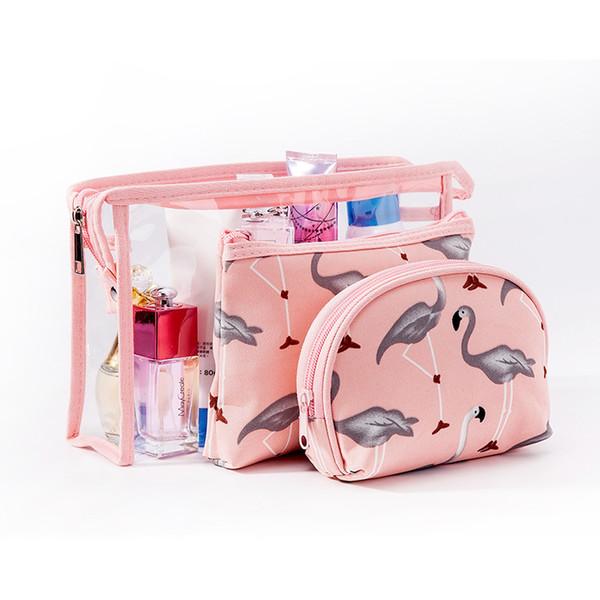 Fashion 3 Pcs Sets Women PVC Cosmetic Bag Mascot Flamingo Cartoon Washing Toiletry Kits Makeup Bag Female Travel Organizer Neceser Mujer