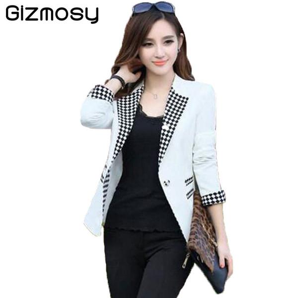 Ladies Blazers 2018 New Fashion Single Button Blazer Women Suit Jacket White Blaser Female Plus Size Blazer Femme BN2561 S18101303