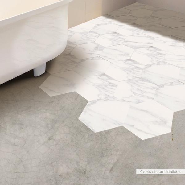Großhandel 10 Teile / Satz Marmor Fliesen Dekorative Weiße Boden Aufkleber  DIY Hexagon Selbstklebende Kunst Wandtattoo Badezimmer Dekor Von ...