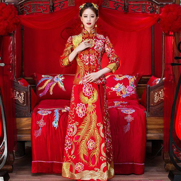 JYR622 Cheongsam Wendding Dress High Quality Red Chinese Wedding Dress Female Gold Slim Chinese Traditional Dress Women Qipao for Wedding