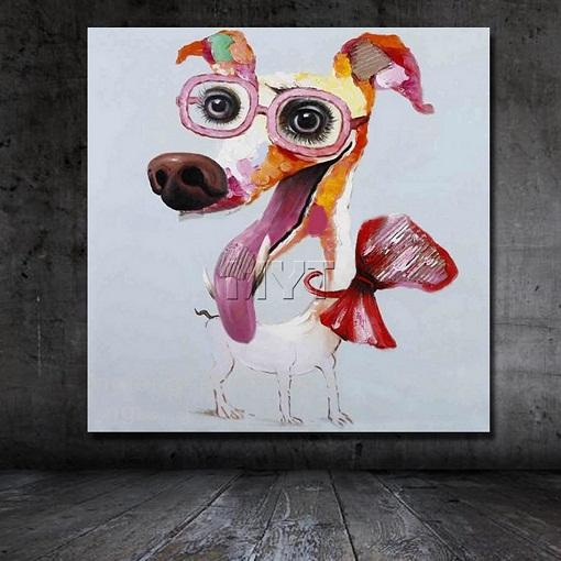 Modern Abstract Cartoon Animal dog with glass Oil Painting On Canvas Handmade Wall Art Artwork for Kids Room Decor Multi Sizes a126