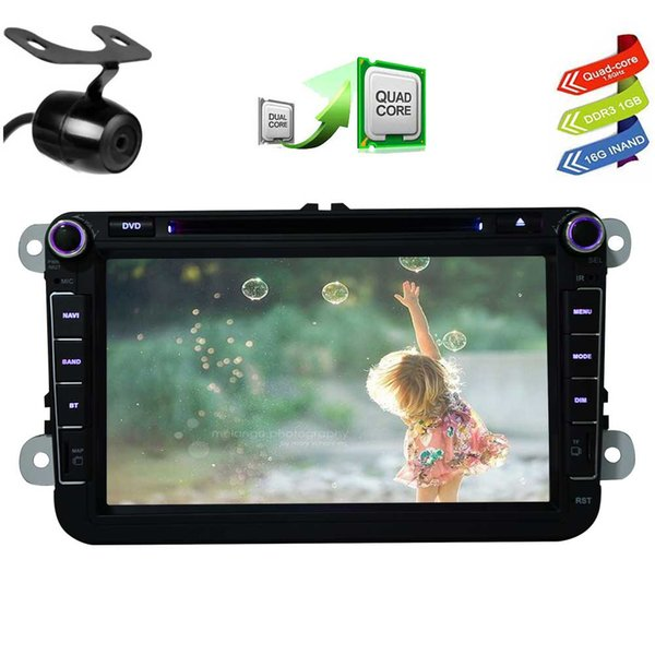 CANBUS&Backup Camera EinCar Pure Android 6.0 Car DVD Player for VW 8'' Touch screen Double Din Car Stereo GPS Navigation In Dash