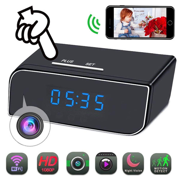 Free Shipping Home Alarm Clock WiFi Camera HD 1080P Mini Small Wireless Camera For Home Security Surveillance Cam with 12Pcs night vision