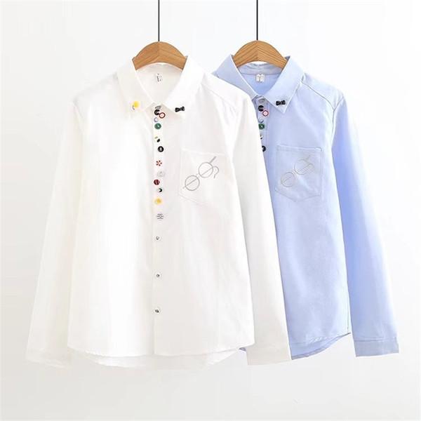 2018 Blouses Women Cute School Shirts Girls Blue White Casual Style Tops Female Cotton Long Sleeve Autumn Women Blusas ZY4235