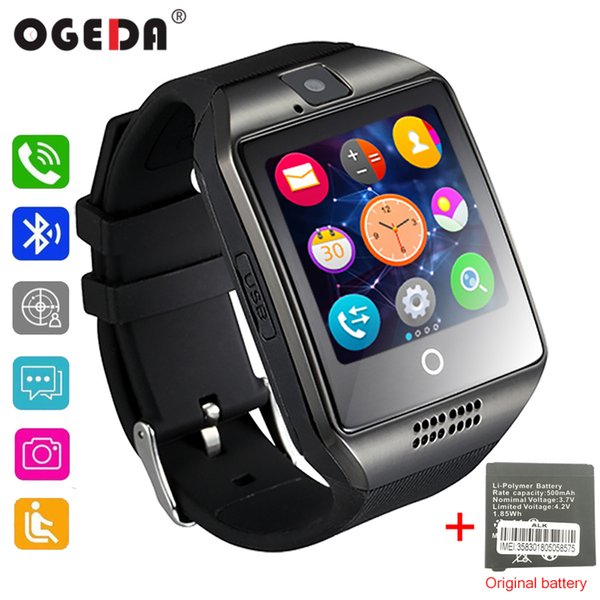 OGEDA Bluetooth Smart Watch Men Q18 With Touch Screen Big Battery Support TF Sim Card Camera for Android Phone Smartwatch+BOX