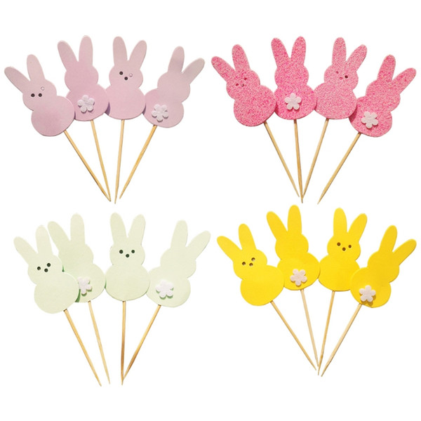 4Pcs Cake Cupcake Toppers Lovely Rabbit Bunny Birthday Shower Easter Party Decor Drop Ship