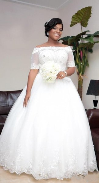 Cheap 2018 Vintage Beaded Lace Plus Size African Wedding Dresses With  Illusion Short Sleeve Jacket Ball Gowns Sequin Tulle Plus Size Wedding Dres  As ...