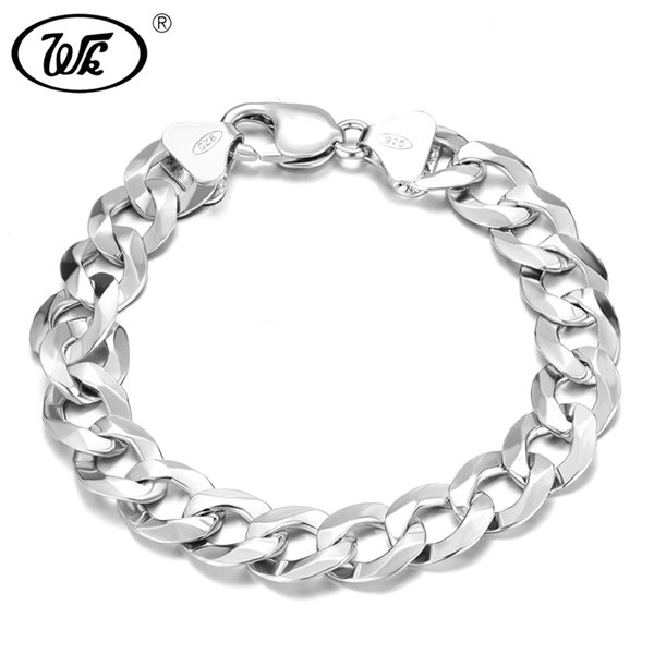 WK Long Thick Men Male Sterling Silver Bracelet 925 Hip Hop Rapper Cuban Curb Chain Bracelet 4MM 5MM 6MM 7MM 8MM 9MM 12MM BM006 C18110201