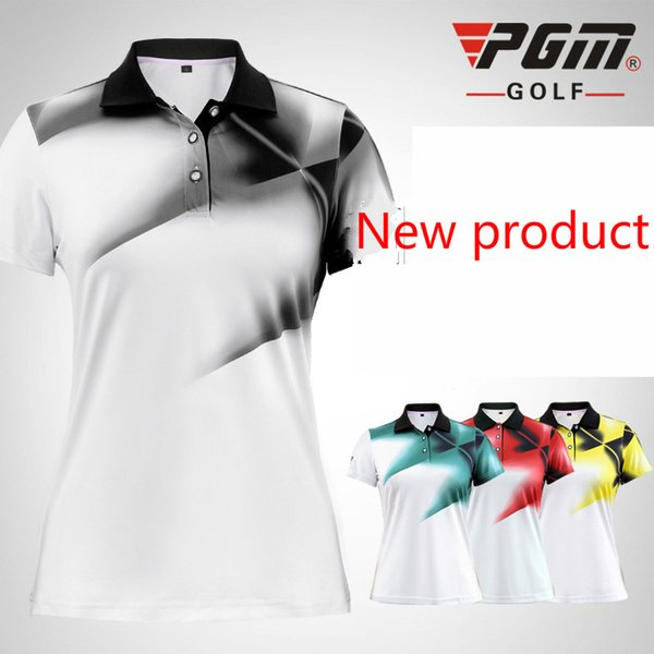 PGM Golf shirts for women Brand short-sleeve Girls shirts Summer colorful printing golft t shirt 4 colors size S~XL