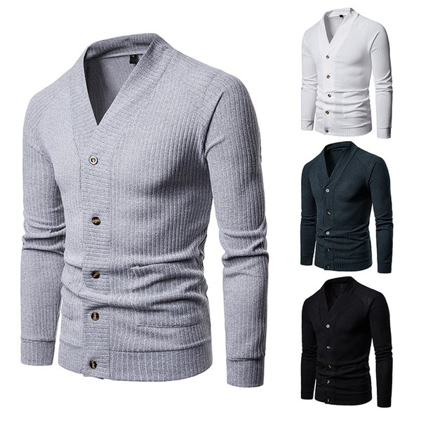 Cardigan Men New Design Winter Sweaters Mans V-Neck Fashion Man Coats High Quality Single-Breasted Cotton Cardigans Solid Men Tops Clothing