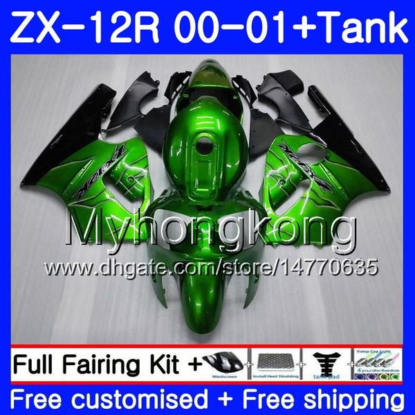 Injection + réservoir pour KAWASAKI NINJA ZX1200 C ZX 12R 00 01 222HM.0 ZX 12 R 1200CC ZX12R 00 01 ZX-12R 2000 2001 Kit carénages vert usine