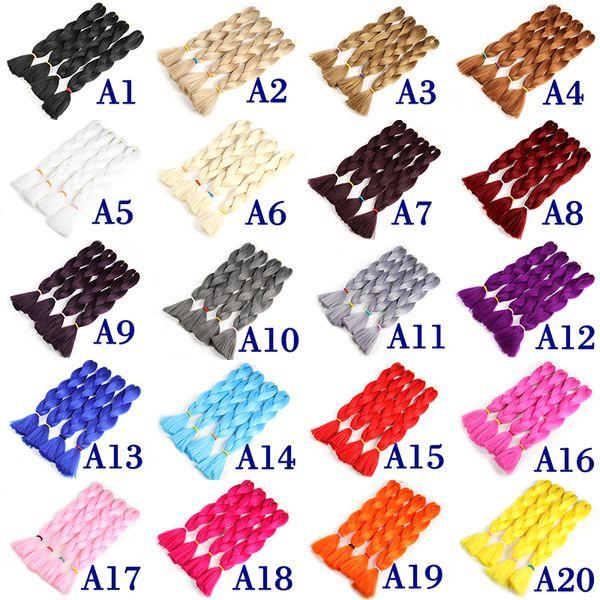 best selling Color Synthetic Jumbo Braiding Hair Kanekalon Xpression Braiding Hair Extensions High Temperature Fiber Crochet Twist Hair 24 Inch 80g