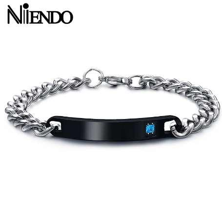 NIENDO Stainless Steel Jewelry Couple Bracelets Lovers Blank ID Women Mens Bracelet His and Hers King Queen drop Shipping