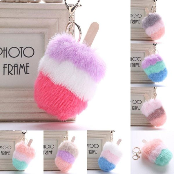 Fluffy Plush Ice Cream Fur Ball Charm Keyring Hanging Key Chain Plush Pendant Ornament 7 Styles