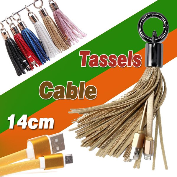 USB Cable Leather Tassel Keychain Mini Fast Charger Metal Key Ring Short Data Cord Sync Charging Line Adapter For Samsung Galaxy Note 9 8 S9