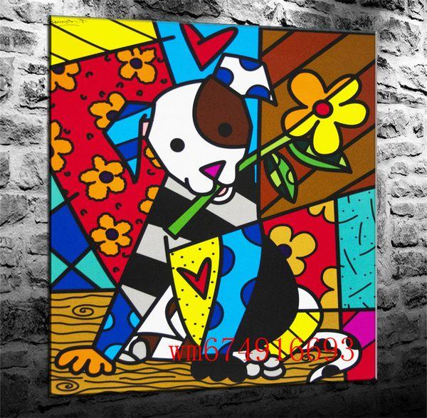 Romero Britto Köpek, Tuval Adet Ev Dekor HD Baskılı Modern Sanat Tuval Üzerine Boyama (Çerçevesiz / Çerçeveli)