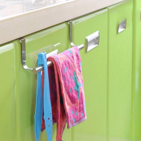 Hot Bathroom accessories Stainless Steel Bathroom Kitchen Multipurpose Single Towel Rack Door Back Wipes towel rack holder