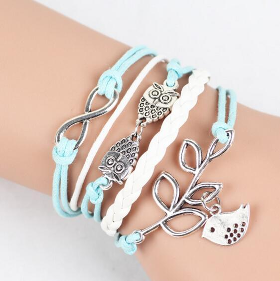Owls & Lucky Branch/Leaf and Lovely Bird Charm Bracelet in Silver - Mint Green Wax Cords and Leather Braid Gifts DHL