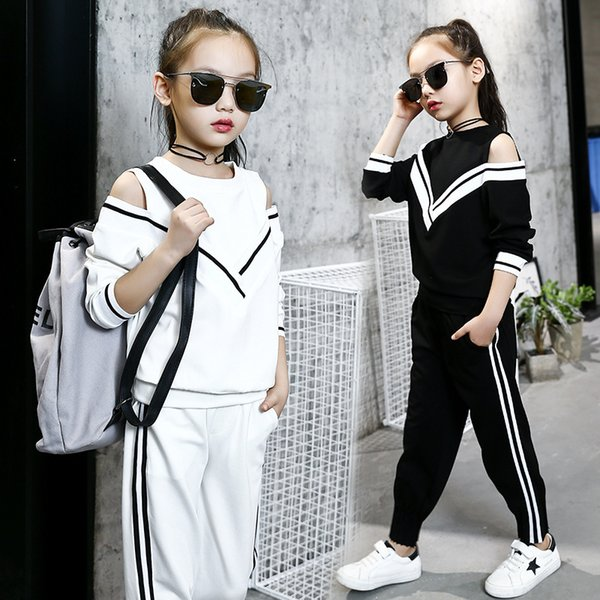 Fashion Big Girls Sports Suits Off Shoulder Black and White Clothing Set for Teenage Autumn Tracksuit Kids Plus Size Sportswear Y18102407