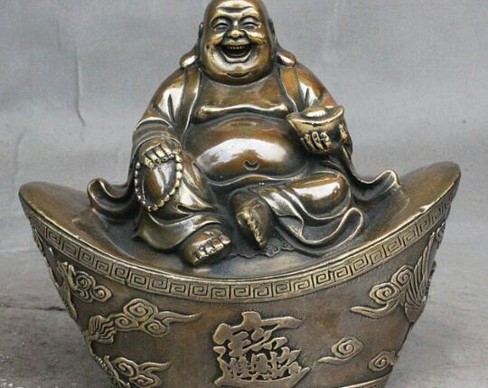 DYZ621China Latón Cobre Zodíaco Propicio Fengshui Yuanbao Riqueza Estatua