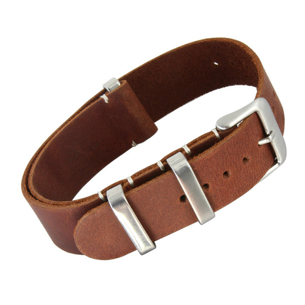 20mm 22mm Genuine Leather Nato Strap Watch Bands For Most Watches with Steel Rings Free Shipping