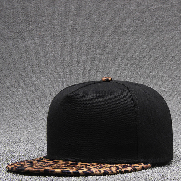 Beckyruiwu Color sólido Sombreros de skate Hombres Bboy Flat Snapback Cap Adultos Hip hop Leopard enarboló Gorras de béisbol
