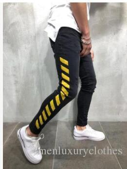 abcba81a6f Mens Brand Designer Jeans Black Yellow Striped White Pencil Ripped JEANS  Slim Fit Street Jeans