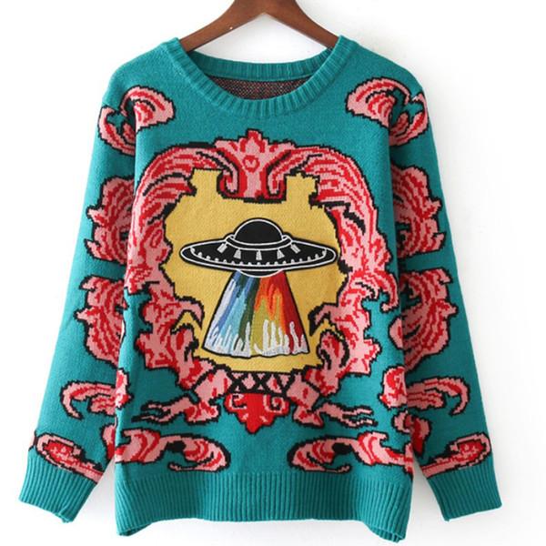2018 outono Mulheres Novas camisolas quentes do vintage Nuvens OVNI Jacquard pullovers inverno outono malha retro tops soltos blusas