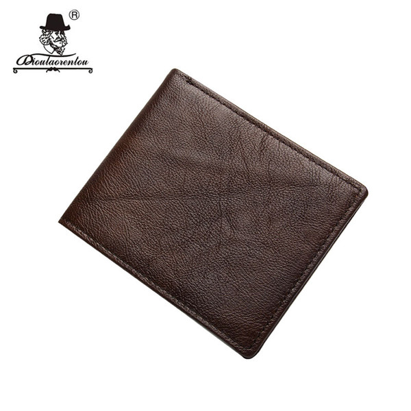DIOULAORENTOU Brand Vintage Cowhide Genuine Leather Mens Wallet Small Biflod Man Purse Short Vertical Wallets with Card Holder