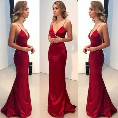 Sexy Spaghetti Straps Red Long Evening Dresses Deep V neck Backless Formal Prom Gowns Mermaid Slim Silk Satin Simple Cheap Special Party