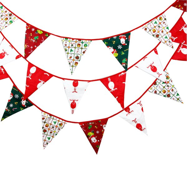 3 Colours 3.5M Bigger flags Fabric Bunting Personality Christmas Party Decoration Xmas Banner Garden Garland