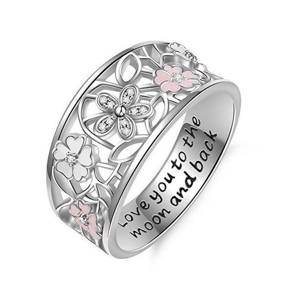 Anéis de cereja de cristal te amo para a lua e voltar carta anéis moda jóias para mulheres navio da gota
