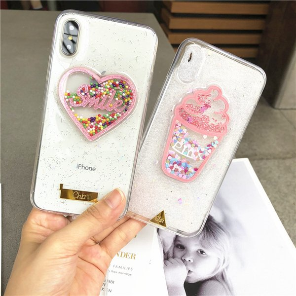 Glitter color love smile love pink ice cream all-inclusive anti-drop silicone soft shell For iPhone XS, iphone XR Xmas iPhone 8