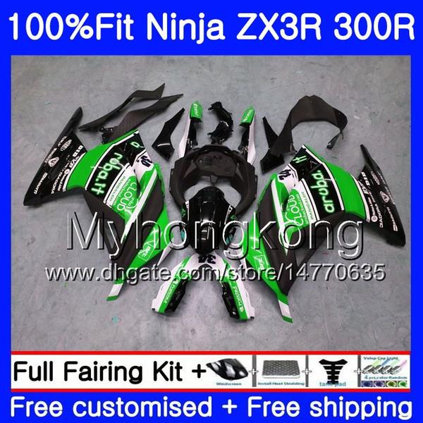 Injection +Tank For KAWASAKI NINJA EX 300 ZX 300R ZX3R 13 14 15 202HM46 ZX-3R ZX300R EX300 New green blk ZX300 R 2013 2014 2015 Fairing kit