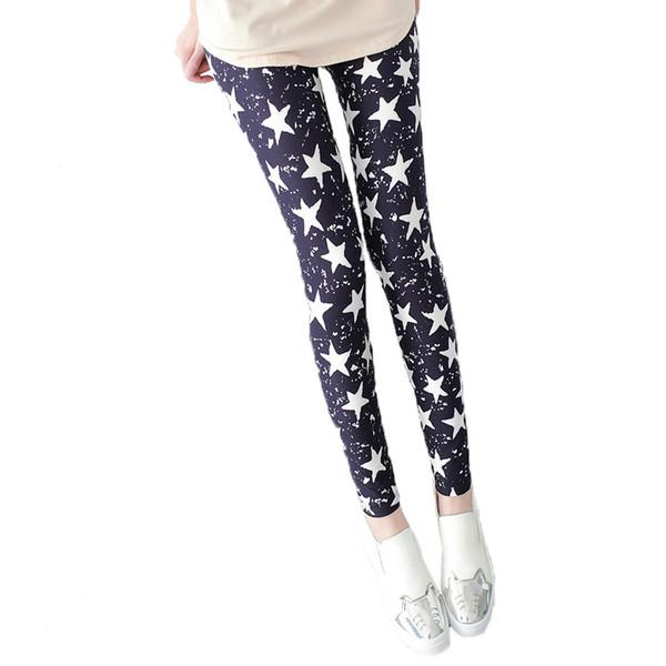 2018 Fashion Spring Summer Women Black Thin Stretch Leggings Colored Stars Sporting Slim Skinny Woman Pant
