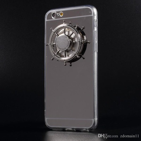 best selling i6 i6s i6+ EDC Rudder Fidget Spinner Case Electroplated Mirror-like Acrylic TPU Back Cover for Apple iPhone 6s 6 Plus iPhone6