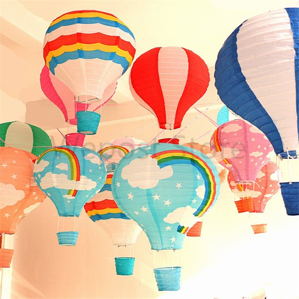 12inch Hot air balloons Colorful Rainbow Round Paper Lantern Kids Birthday Party  Wedding Decoration Balloons