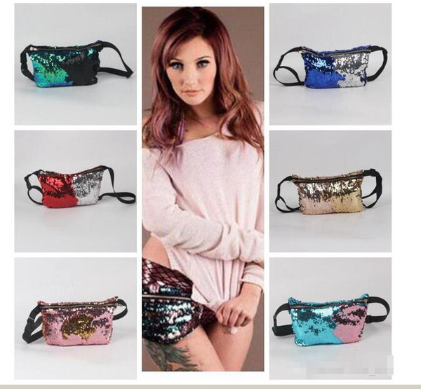top popular Cosplay DHL6 Colors Mermaid Fanny Packs Sequin Purse Pocket Sequins Cosmetic Makeup handbag Fashion Bags Women Glitter Tote Storage gift Bag 2019