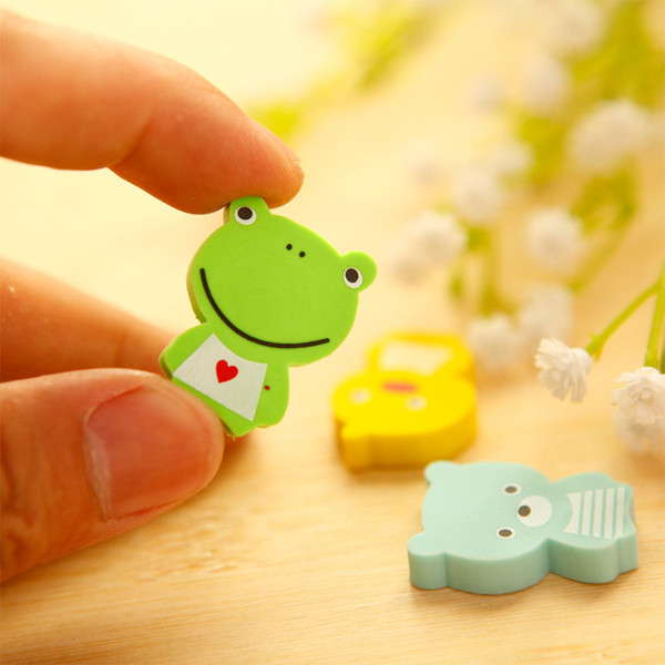 Pencil Eraser Animal Seise cute 4 pcs/set frog Eraser student gift kawaii cartoon Eraser write modify tool school office supply ERS01