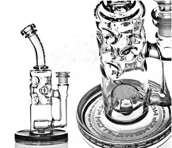Mother-Ship Fab Egg Glass Bongs Klein Recycler Oil Rigs Hookahs 2 Function Solid Glass Water Pipes Hookahs Free Shipping Cheap