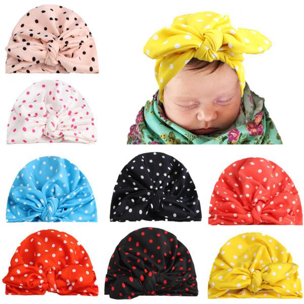 2018 New 10pcs/lot Knitting Dots Rabbit Ear Hat Bows Cap Bohemia India turban Hats Knot Beanies Photography Props photo Gorro