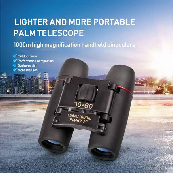 Telescopio plegable con zoom binocular de visión nocturna de 30 x 60 días con bolsa para caminatas, reclamos, deportes al aire libre, viajes