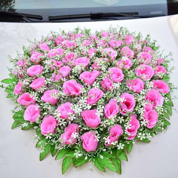 Fiori artificiali Decorazioni per auto per matrimoni Silk Rose Babysbreath Rifornimenti di eventi per feste di nozze Pink Red Home Living Room Fake Plant