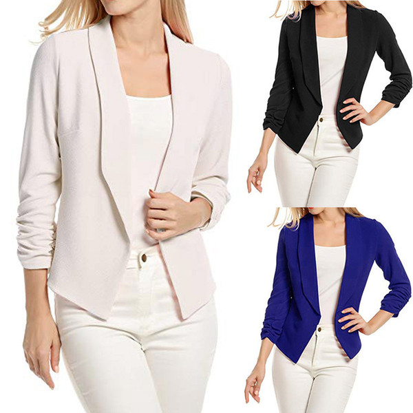 2018 New Fashion Women 3/4 Sleeve Blazer Open Front Short Cardigan Suit Jacket Work Casual Office Coat vetement femme clothes L18101301